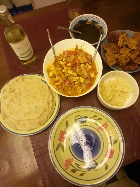 Our humble spread for the New Year's Indian food cookout (L-R): paratha, paneer khurchan and vegetable pakora.