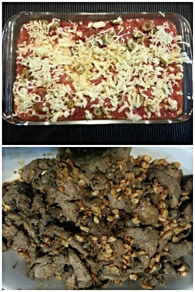 Made by Nayna: (Top) chicken meatballs in tomato gravy, olives and cheese; (Bottom) Pork salpicao at its finest.